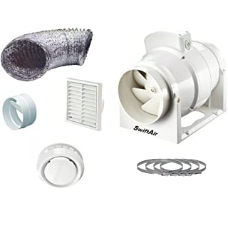 High Power 220 m3/hr Inline Loft Mounted Bathroom/Toilet Extractor Fan Kit 4