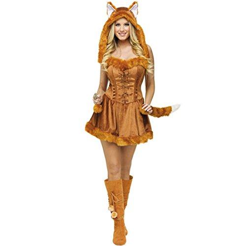 JTENGYAO Damen Katzenfrau Kleid Halloween Party Kunstfell Kapuze Mit Schwanz Plüsch Kostüm Weihnachten Fuchs