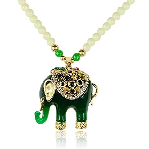 18K GP Glass Beads Crystal Acrylic Green Elephant Pendant Sweater