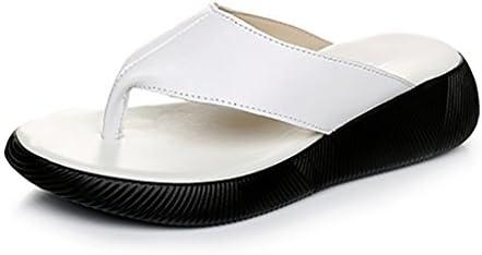 Zapatos de Mujer Sandalias Flip-Flop Primavera y Verano de Piel de Vaca Zuecos de Suela Gruesa Blanca Plana Zapatos...