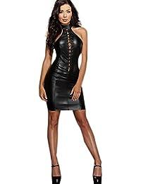 b0e064346 Amazon.es  vestido cuero - Vestidos   Mujer  Ropa