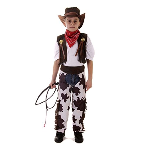 ME-FD090-LARGE Cowboy-Kostüm, Größe L, 8-10, mehrfarbig ()