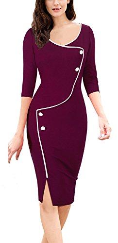 Frauen Kleid Anzug (Homeyee Frauen elegante dunkelblaue Knopf Hülsen-dünne Abend-Partei-Geschäfts, figurbetontes Kleid B329 (EU 38 = Size M, Karminrot))