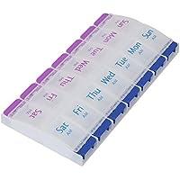 Preisvergleich für Shintop Pillendose 14 Fächern, Tablettenbox 7 Tage AM/PM mit Druckknopf für Vitamine und Medizin (Durchsichtig)