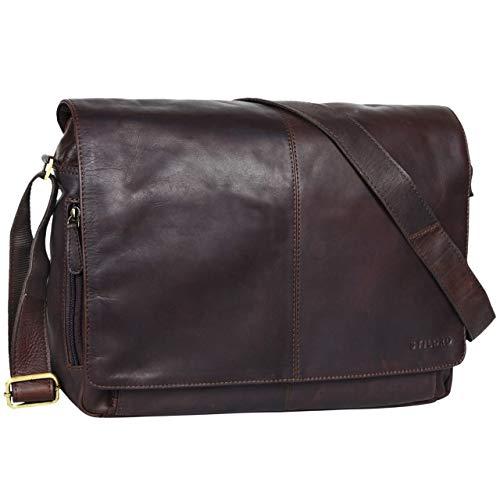 STILORD 'Alex' Vintage Ledertasche Männer Frauen Businesstasche zum Umhängen 15,6 Zoll Laptoptasche Aktentasche Unitasche Umhängetasche Leder, Farbe:Ebenholz - braun