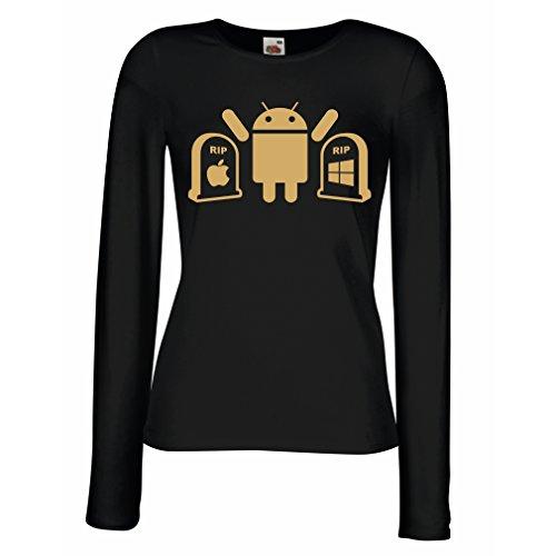 Weibliche Langen Ärmeln T-Shirt Der Gewinner ist Android - Geschenk für Tech-Fans (XX-Large Schwarz Gold)