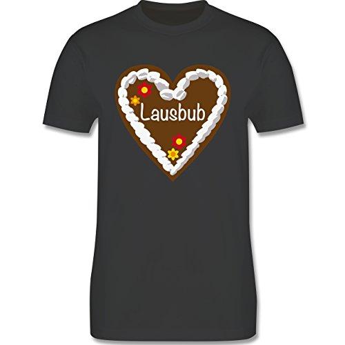 Oktoberfest Herren - Lebkuchenherz Lausbub - Herren Premium T-Shirt Dunkelgrau