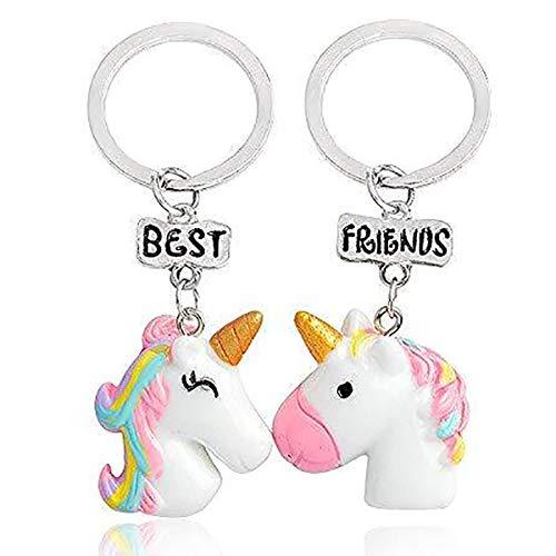 Yansion Unicorn colgante llavero Best Friends colgante resina cadena Gargantilla llavero regalos 2 piezas muti-funciones