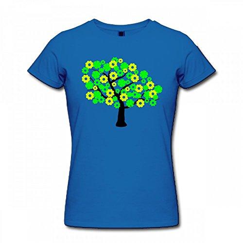 T Shirt For Women - Design Green Tree Shirt blue