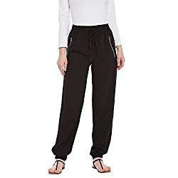 Ruhaans Womens Crepe Black Color Regular fit Trouser (RU_5266_S)