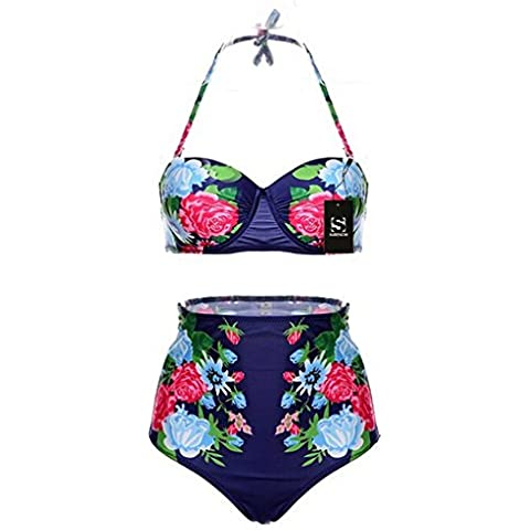 Surenow High-waisted bikini with Retro Design Featuring Bold Prints And Bright Look hot and incredibly stylish