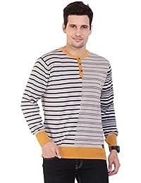 TAB91 Men's Cotton Rich Beige Striped Round Neck Pullover
