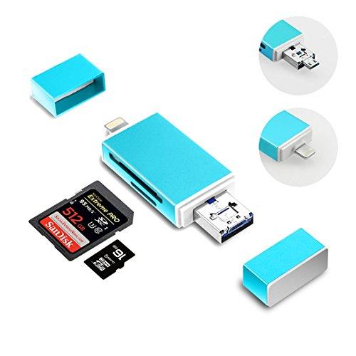 SD-Kartenleser Adapter, 3 in 1 mit Lightning/Micro USB/USB unterstützt IOS 9; Computer Memory Card Reader für iPhone/iPad/Mac/PC/OTG Android/Digital Kameras (BLAU) (Computer-memory Card Reader)