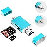 SD-Kartenleser Adapter, 3 in 1 mit Lightning/Micro USB/USB unterstützt IOS 9; Computer Memory Card Reader für iPhone/iPad/Mac/PC/OTG Android/Digital Kameras (BLAU)