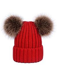Lau s Cappello invernale ragazza berretto a coste con doppio pon di pelliccia  sintetica af476ec5d653