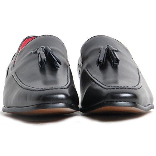 Rosselini - Mocassins pour hommes en daim avec point décoratif Noir mat