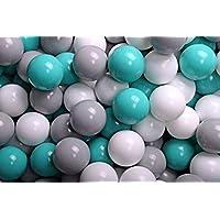 MEOWBABY 200 ∅ 7Cm Bolas Certificadas para Niños Bolas de Baño de Colores Bolas de Plástico para Niños Piscina Fabricadas en EU Turquesa/Blanco/Gris