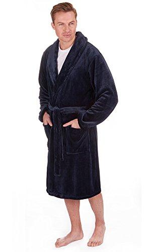 Herren Superweich Hausmantel Fleece Bad Robe Bademantel Herren Warm Winter Style Navy (Shawl Collar)