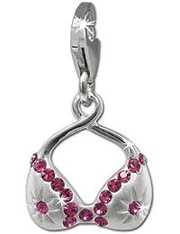 SilberDream Charm / Dijes - Bikini - rosa - con esmalte y circonita - 925/1000 Plata de ley - Colgante para la pulsera, collar FC863A