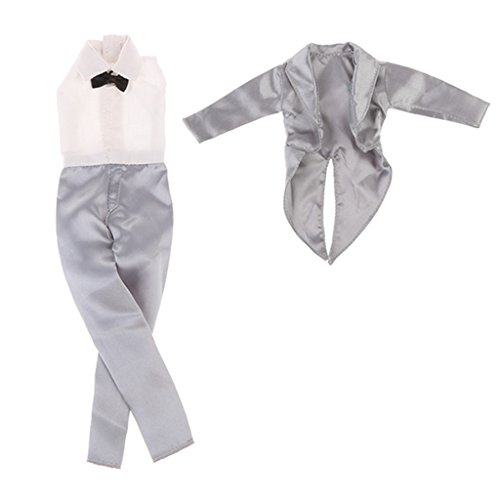 MagiDeal 1 Set 1/6 Puppenkleidung Hochzeitsanzug, Overalls mit Mantel, Outfit für 30cm Barbie Ken...
