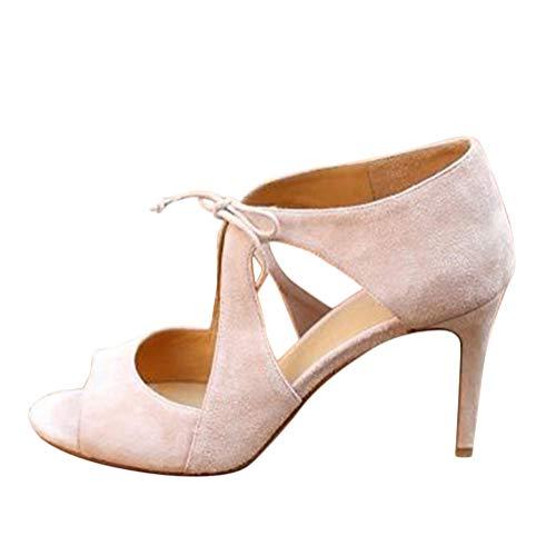 12ed6684e34870 Minetom Femme Sandales Haut Talons Sandals High Heel Soirée Club Été Sangle  Croisée Creuse Mode Suède