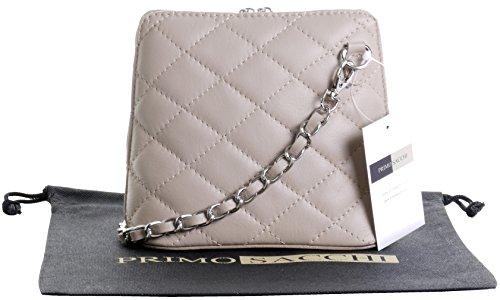 Italienische hellem Beige Leder klein/Micro gesteppte Umhängetasche Handtasche mit Metallkette und Leder, Riemen umfasst eine Marke schützenden Aufbewahrungstasche (Klassische Tasche Gesteppte)