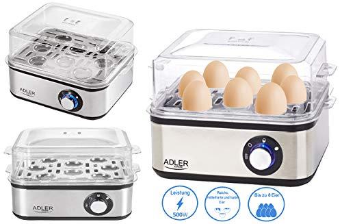 Adler Elektrischer Eierkocher | 1-8 Eier | Eier 500 Watt | Edelstahlheizplatte | Automatische Abschaltung | Kontrollleuchte | Überhitzungsschutz | Eier Kocher | Egg Cooker |