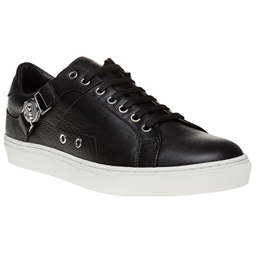 Versace Collection Saddle Branded Low Top Homme Baskets Mode Noir Noir