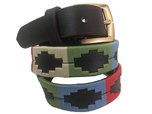 Carlos Diaz Jungen Mädchen Kids Kinder Unisex Argentinischen Braun Leder Bestickte Polo Gürtel (65 cm/ 24-26 Inches) (Gaucho Mädchen)