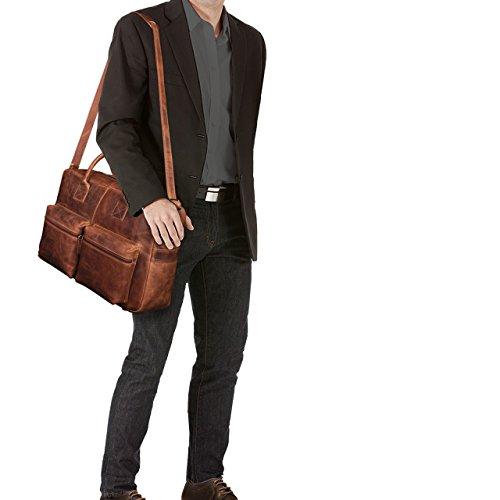 STILORD 'Ben' Vintage Businesstasche Leder groß Unisex Umhängetasche 15,6 Zoll Laptop College Bag Aktentasche Uni echtes Rindsleder, Farbe:dunkel - braun kara - braun