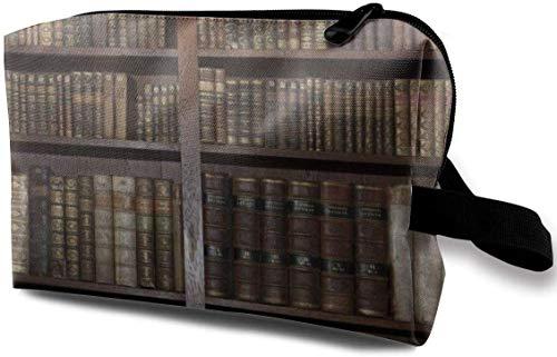 Kosmetiktasche Tragbare Handtasche Vintage Bücherregal Make Up Pinselhalter Cosmetic Storage Organizer für Geldbörse oder Reise -