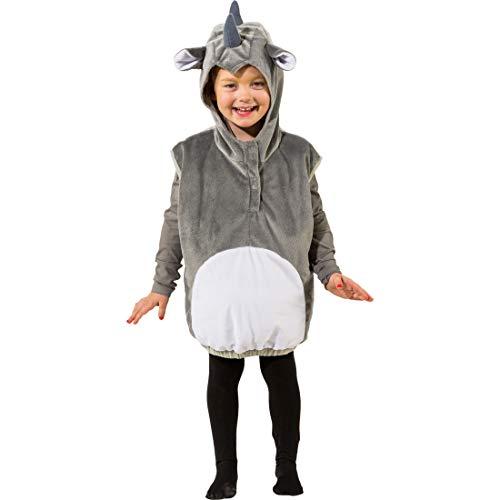 Kostüm Nashorn Kind - Amakando Süßes Kinder-Kostüm Nashorn bestehend aus Weste mit Kapuze / Grau-Weiß 104 cm 3-4 Jahre / Hübsche Tier-Verkleidung Rhinozeros für Jungen & Mädchen / Ideal zu Kinder-Fasching & Karneval