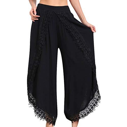 Lange Hosen Damenmode Hose Lace-Trim Hosen Freizeit Slim Loose Hose (M, Schwarz) -
