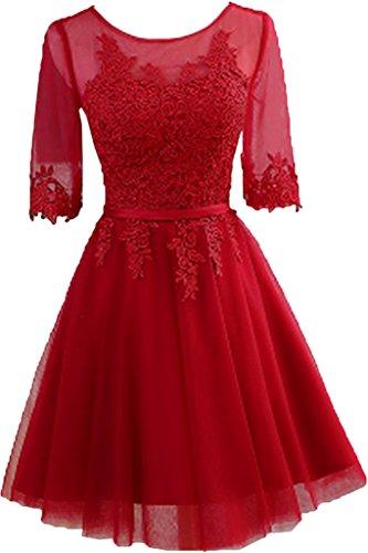 Victory Bridal 2016 Neu elegant Cocktailkleider Promkleider Abendkleider Rundhalsausschnitt A-Linie knielang Spitzeapplikationen Weinrot