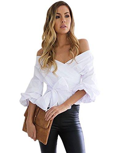 YouPue Donne Camicie Spalla Off Manica Lunga Camicetta Camicia Shirt Superiore Tops Autunno Ragazze Bianca L