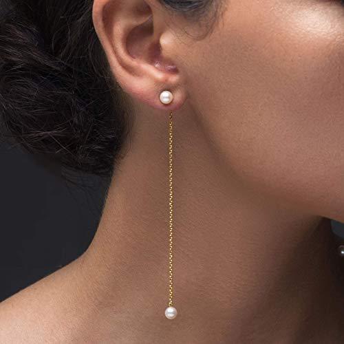 Ohr-Jacke Perlenohrringe, Doppelperle Ohrringe, vorne zurück Ohrring Jacken Perle, Einfädler Ohrringe, Statement Ohrringe, lange Ohrringe