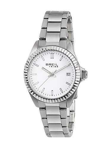 Orologio breil donna classic elegance quadrante mono-colore bianco movimento solo tempo - 3h quarzo e bracciale acciaio ew0218