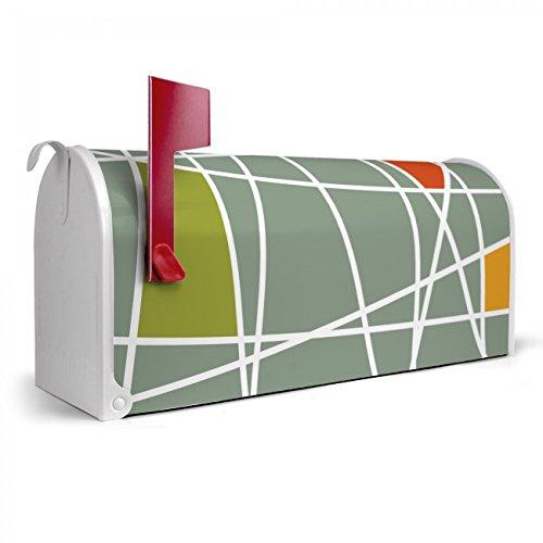 BANJADO US Mailbox | Amerikanischer Briefkasten 51x22x17cm | Letterbox Stahl weiß | mit Motiv Kreuz und Quer, Briefkasten:mit schwarzem Standfuß