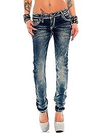 Cipo & Baxx Damen Jeans Designer Style mit bunten Aufschirften