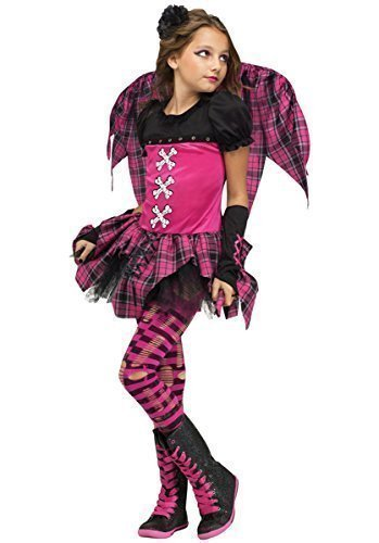 4 Stück Mädchen Rosa Schottenkaro Dunkel Gefallener Engel Punky Fee + Wings Halloween Kostüm Kleid Outfit - Rosa, 8-10 (Kinder Engel Dunkler Halloween Kostüme)