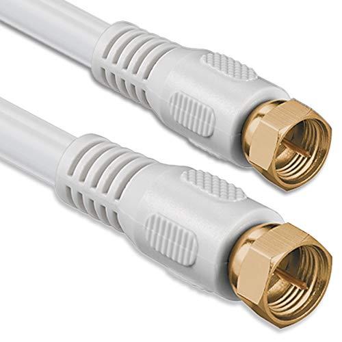 1aTTack Koaxial Anschluss Kabel Antennenkabel Sat Kabel Anschlusskabel F-Stecker Koaxialstecker auf Koaxialkupplung doppelt geschirmt/Dreifach geschirmt/4fach geschirmt/75dB/85dB/100dB/110dB/120dB/125dB SAT weiß F-F gold 85db 2,5 Meter