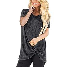 Camisas Mujer Casual,❤️riou Camiseta de Manga Corta con Cuello Redondo básica de Color