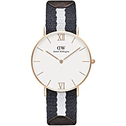 Daniel Wellington Women's Quartz Watch with White Dial Analogue Display and Multicolour Fabric Strap 0552DW