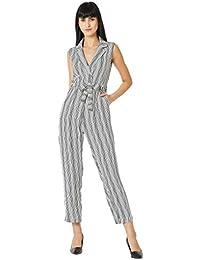 8c96ec1d7d9 Miss Chase Women s Black and White Wrap Striped Jumpsuit