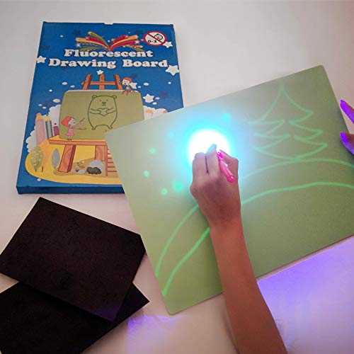 iLight - Pizarra Infantil Mágica de Dibujo con Luz Real – Juego de Pintar para Niños Niñas de 3 a 9 años que Fomenta la Creatividad - Incluye Tablero + 1 Bolígrafo de Luz + 2 Plantillas [Tamaño A3]