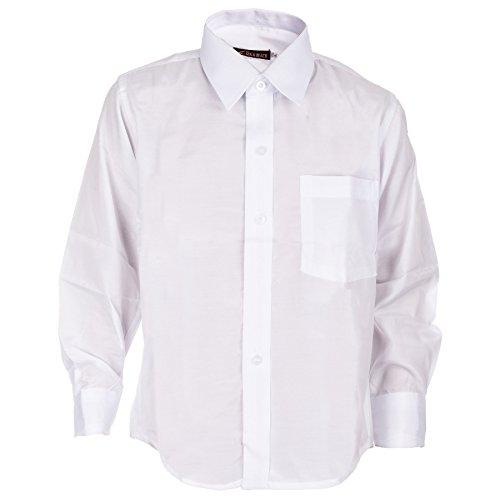 Jungen langarm Hemd in mehreren Farben (8 / 122 / 128, #130 Weiss)
