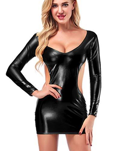 Ansenesna Reizwäsche Damen Erotik Leder Slim Langen Ärmel Clubwear Babydoll Frauen Entblößte Leidenschaft Versuchung Kostüme (Schwarz) (Spitze Lackleder Kostüm)