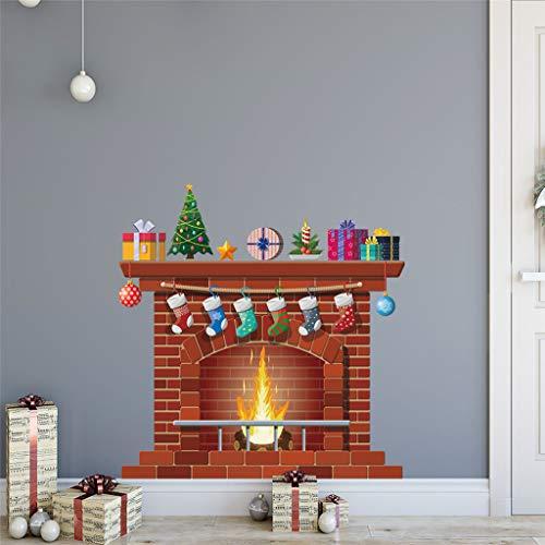 Vinilos Decorativos,Chshe❅,Chimenea De Navidad Collage Creativo Vinilos Decorativos Ventana Vidrio...