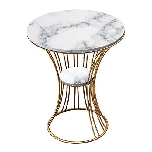 YueQiSong Modern Minimalist Living Room Sofa Side Table, Marble Circular Side, Two Layers, The Metal Frame, Movable 50 * 35 * 56Cm, a
