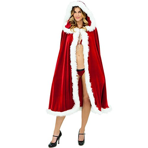 Huntfgold Weihnachtsmann Kostüm Miss Santa Kostüm Weihnachtsfrau Umhang mit Kapuze 150cm Lang